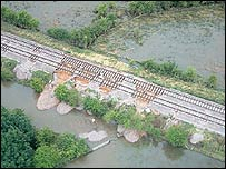 Damage to train tracks rails, railway, rail network by flooding, Oxfordshire