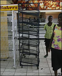 Empty shelves in Harare supermarket