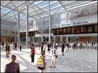 Computer generated image of the new-look New Street