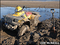 The ATV stuck in mud (Image: Jim McNeill)