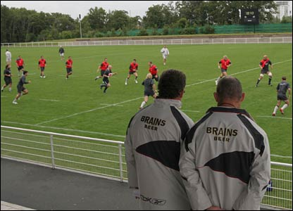 Wales coaches Gareth Jenkins and Robin McBryde supervise training in St Nazaire