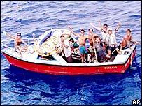 Cubanos llegando a las costas de EE.UU.
