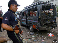 Scene of a suicide attack in Pakistan