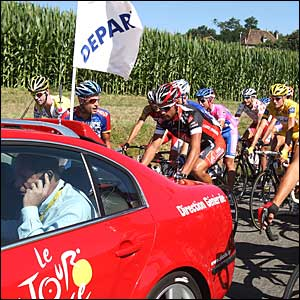 Tour de France director Christian Prudhomme in his car ahead of the pack
