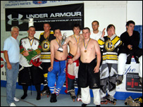 Jon Hiles pictured centre with some of his Cardiff Capitals teammates