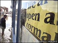 Shop front in flood hit area