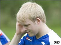 Steven Naismith looks concerned during training
