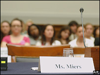 Place card for Harriet Miers at House Judiciary Committee hearing - 12/07/2007