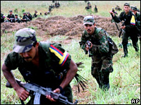 File photograph of Farc rebels