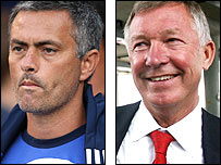 Chelsea manager Jose Mourinho (left) and Manchester United boss Sir Alex Ferguson