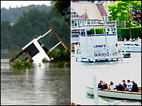 Henley Royal Regatta finishing stand was swept downstream. Photo by Julia Reichel/Stand seen on course - copyright: oepkes.com
