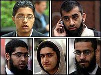 [Clockwise, top left] Mohammed Irfan Raja, Usman Ahmed Malik, Aitzaz Zafar, Akbar Butt, Awaab Iqbal
