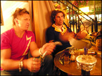 Paul Carter [L] and Ben Palmer-Fry in a Bayswater shisha cafe