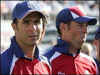 Michael Vaughan and Marcus Trescothick in 2005