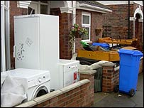 White goods line the streets of Hull