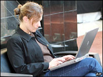Picture of woman using wi-fi