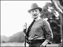 Baden-Powell at the original scout camp