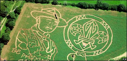 Image of Baden-Powell and the scout badge mowed into a field in the West Country