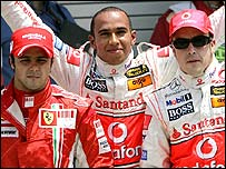 Felipe Massa of Ferrari and McLaren drivers Lewis Hamilton and Fernando Alonso