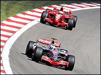 McLaren's Fernando Alonso leads Ferrari's Kimi Raikkonen at the European Grand Prix