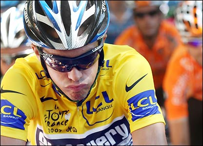 Discovery Channel's Alberto Contador begins Friday's stage