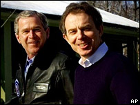 George Bush and Tony Blair at Camp David, 2001