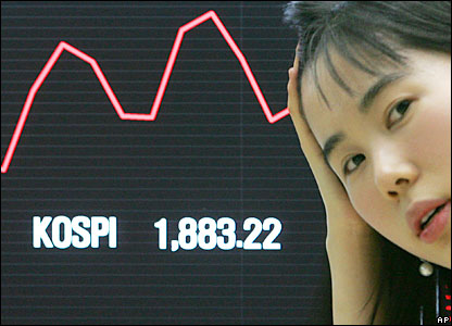 South Korean stock exchange employee reacts to plunging stock prices in Seoul