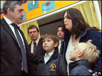Gordon Brown in flooded school