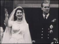 The Queen on her wedding day