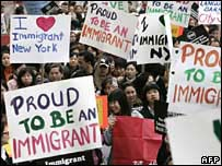 Pro-immigration march in Manhattan in March 2007
