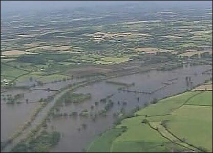 An aerial view of Tewkesbury