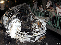 Wreckage of Dagestan deputy mufti's car