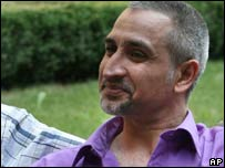 Dr Ashraf Alhajouj speaking to reporters in Bulgaria after his release
