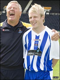Kilmarnock manager Jim Jefferies has a laugh with Naismith on Friday