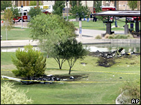 The wreckage of the two helicopters in Phoenix