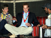 Prince William sits in traditional tent of Saudi Arabia during the opening ceremony