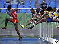Cuba's Dayron Robles, left, winning the men's 110m hurdles race at the Pan-American Games in Rio de Janeiro