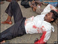 A man injured when police opened fire on protesters in Andhra Pradesh, India