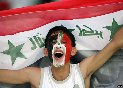An Iraq fan waves the flag at Asian Cup final against Saudi Arabia at Bung Karno stadium in Jakarta, Indonesia - 29/07/2007
