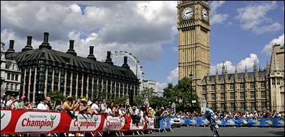 A rider passes through Parliament Square during first ever Tour start in London