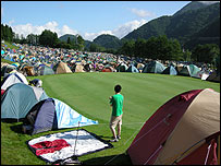 Campers on the golf course