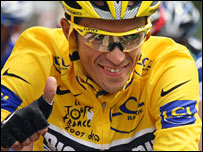 Alberto Contador won the Tour de France for Yates's Discovery Channel team.