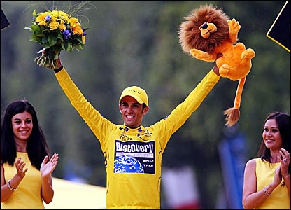 Spain's Alberto Contador celebrates winning the 2007 Tour de France