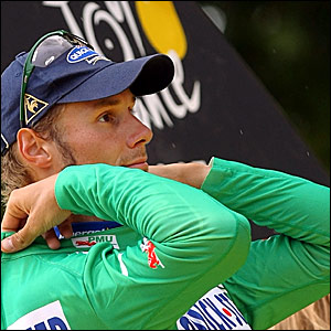 Belgium's Tom Boonen dons the green jersey