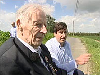 Harry Patch visiting the WWI trench with historian Richard van Emden