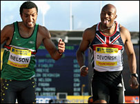 Marlon Devonish (right) beats Alex Nelson to the 200m title