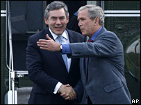 Gordon Brown met by George Bush