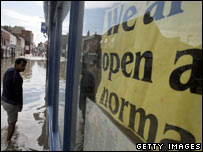 A flooded shop in Evesham