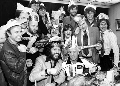 Radio 1 DJs at Christmas in 1980