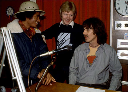 Michael Jackson, David Jensen and George Harrison, circa 1979
